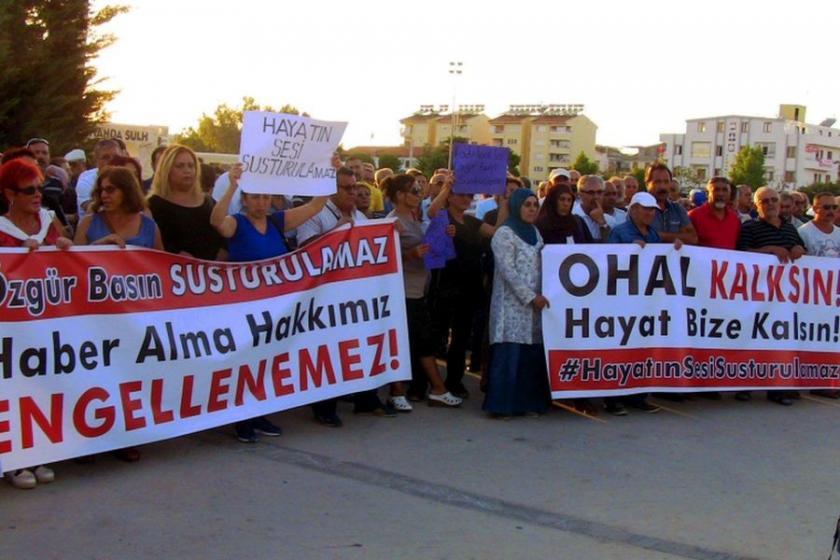 Medya üzerindeki karartma Didim'de protesto edildi