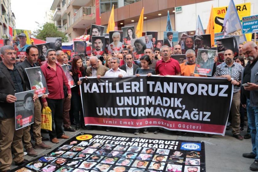 Ankara Katliamı'nda yaşamını yitirenler İzmir'de anıldı
