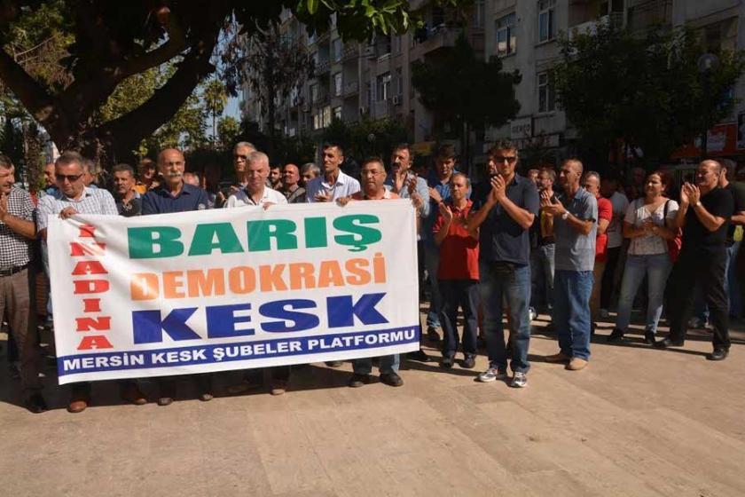 KESK Mitingine yasak Mersin'de protesto edildi