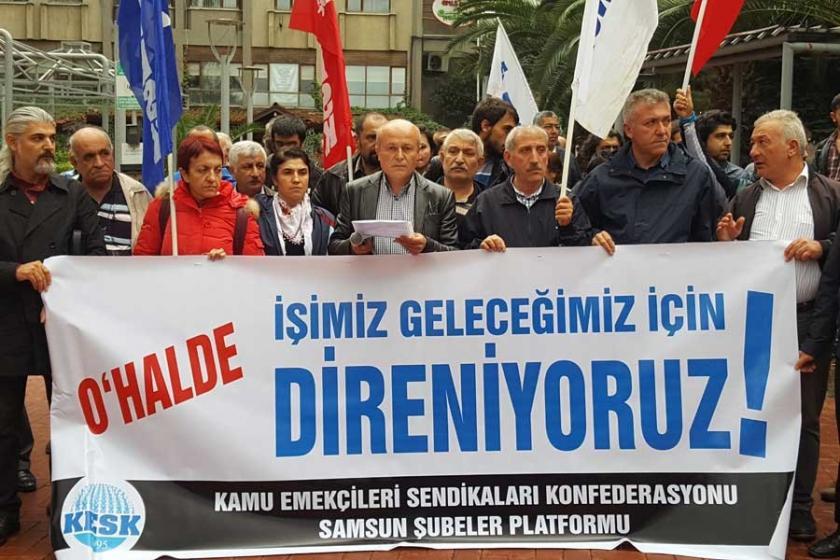 Samsun'da KESK mitingin yasaklanmasını protesto etti
