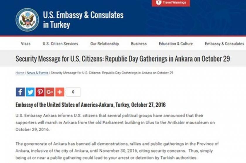 ABD'den vatandaşlarına '29 Ekim' uyarısı