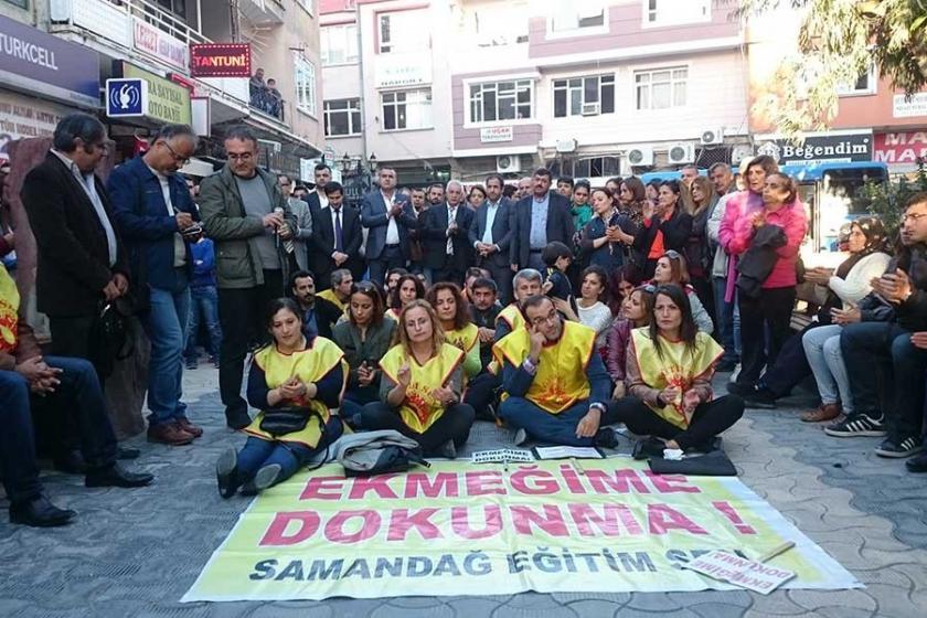 Eğitim emekçileri Samandağ'da yine sokaktaydı