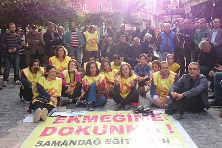 Samandağ'da eğitim emekçilerinin eylemi sürüyor