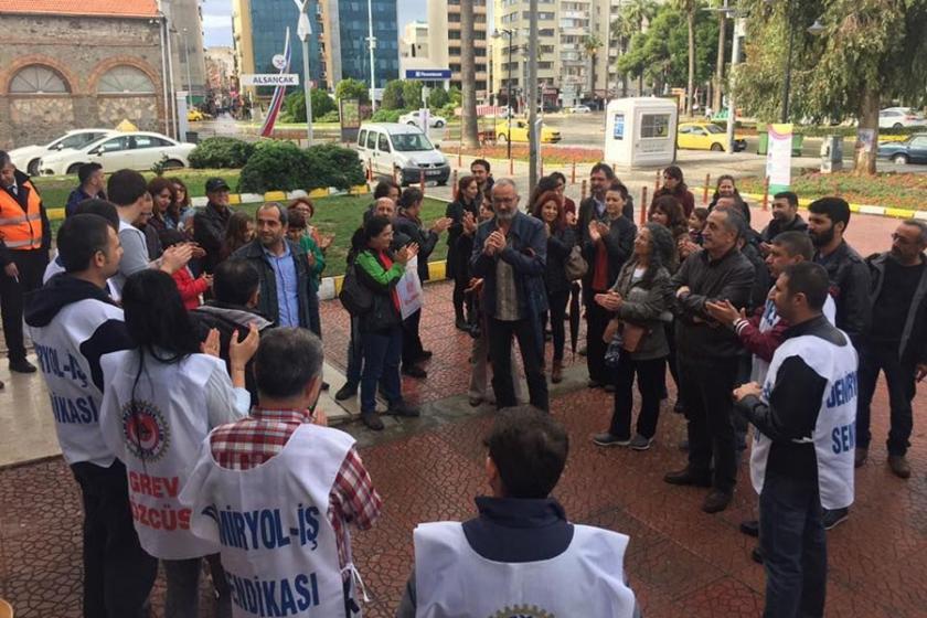 Emek Hareketi grevdeki İZBAN işçilerini ziyaret etti