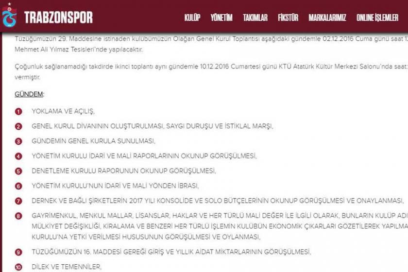 Trabzonspor'un genel kurulu 2 Aralık'ta düzenlenecek