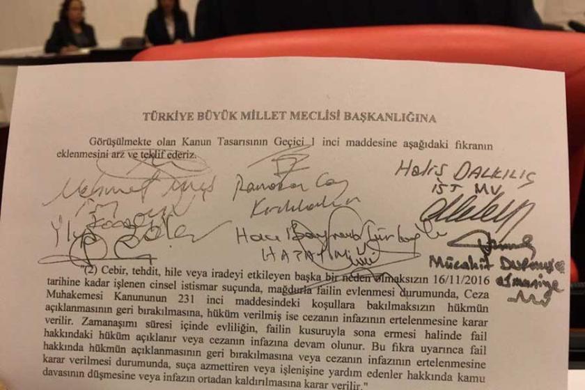 AKP'den istismarcıları aklayan önerge!