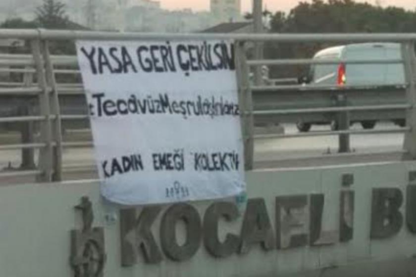 Kadınlar 'Tecavüz meşrulaştırılamaz' pankartı astı