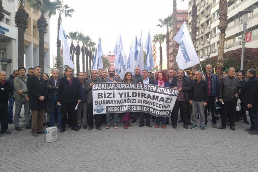 KESK İzmir Şubeler Plarformu ihraçları protesto etti