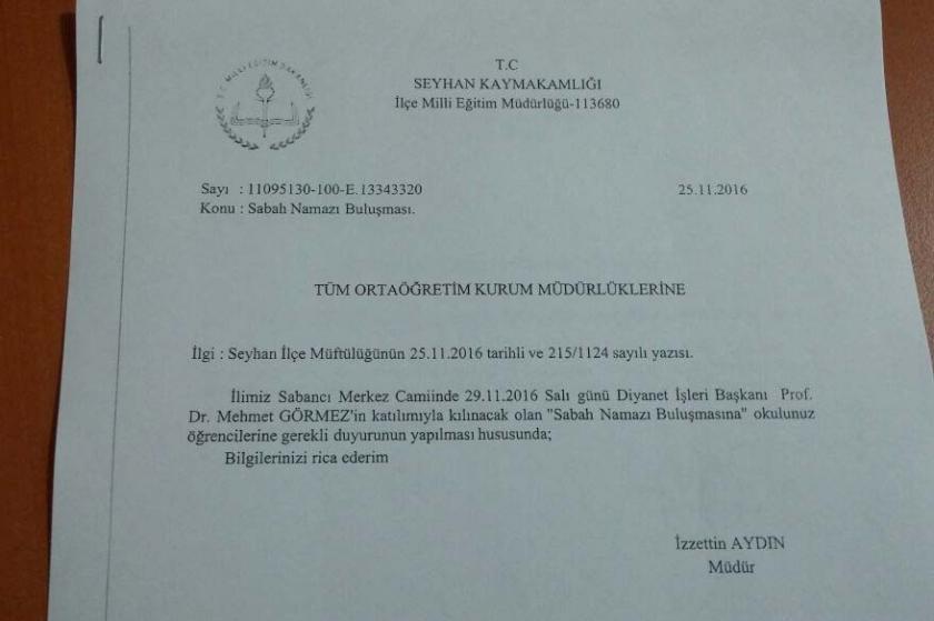 Mili Eğitim Müdürlüğü öğrencilere sabah namazı çağrısı yaptı