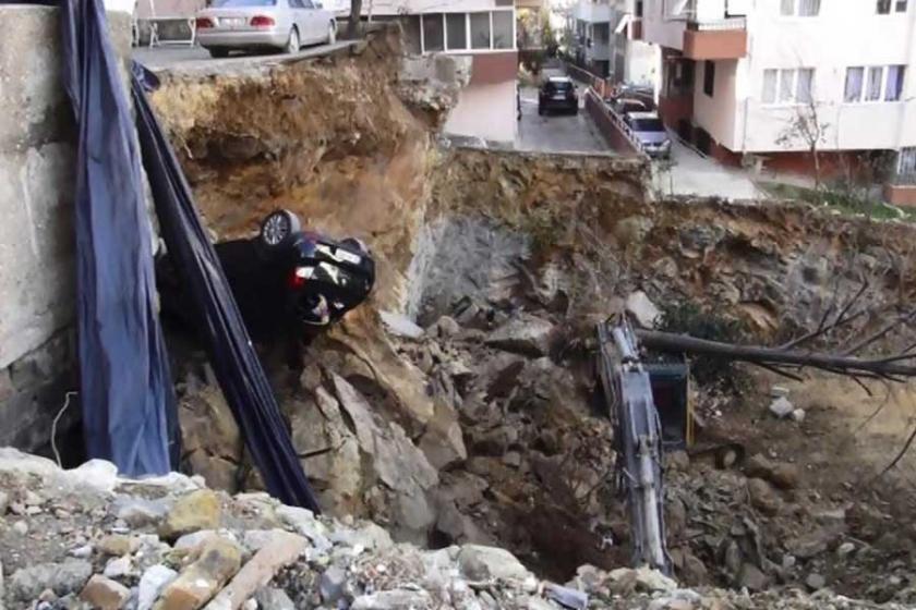 Maltepe'de inşaat temel kazısında istinat duvarı çöktü