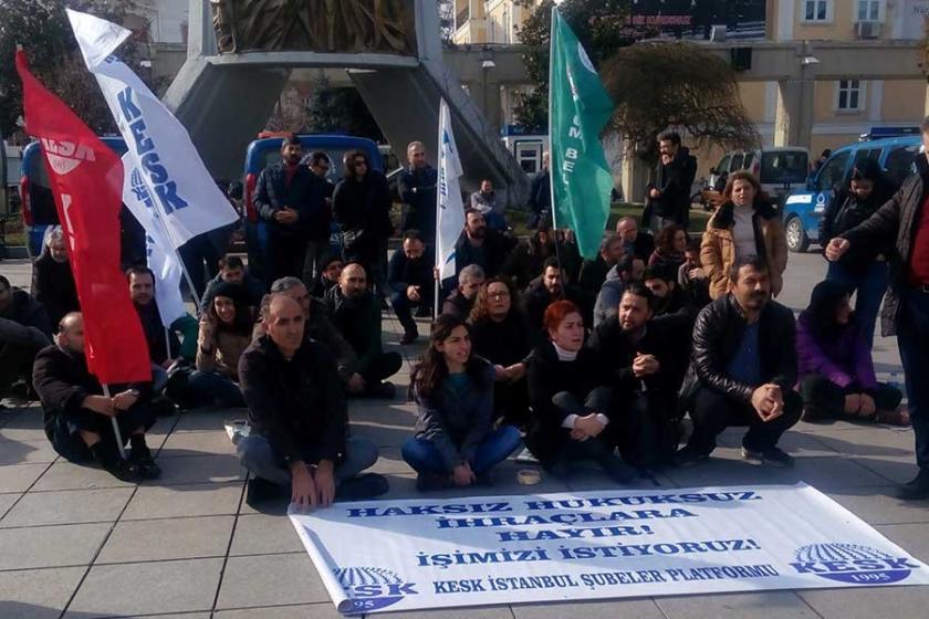 KESK üyeleri KHK'lerle ihraçları protesto etti