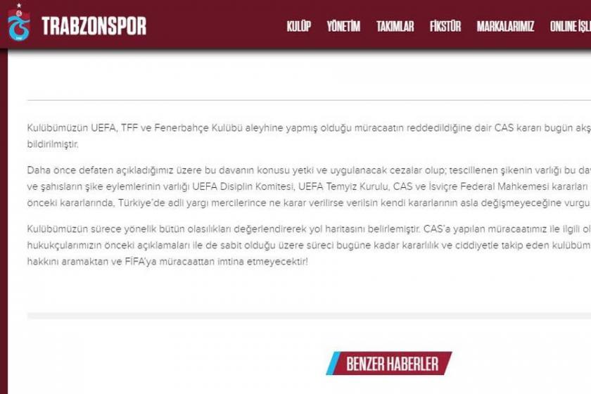 Trabzonspor Kulübü FIFA'ya başvuracaklarını duyurdu