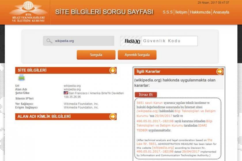 İnternet ansiklopedisi Wikipedia'ya erişim engellendi
