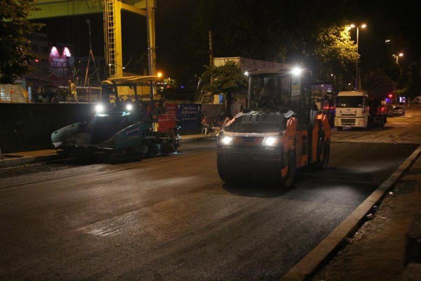 Beşiktaş'ta çöken yol 'onarıldı'