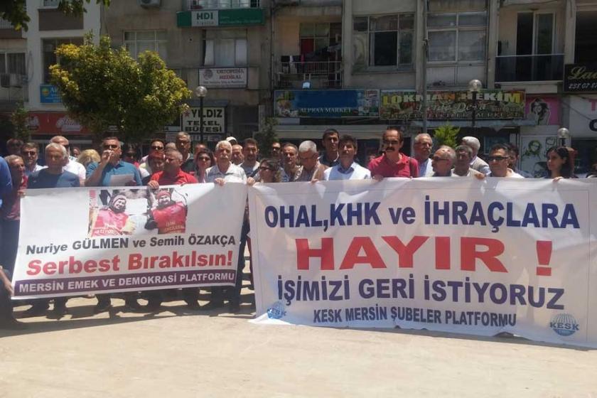 KHK ile ihraçlar Mersin'de protesto edildi