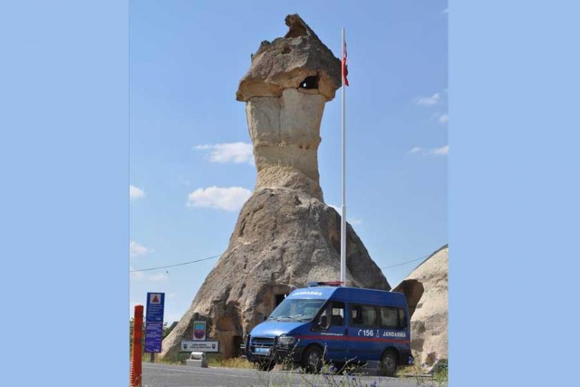 Kapadokya'da peri bacalarına jandarma karakolu