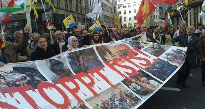 Almanya'da Kobane'yle güçlü dayanışma