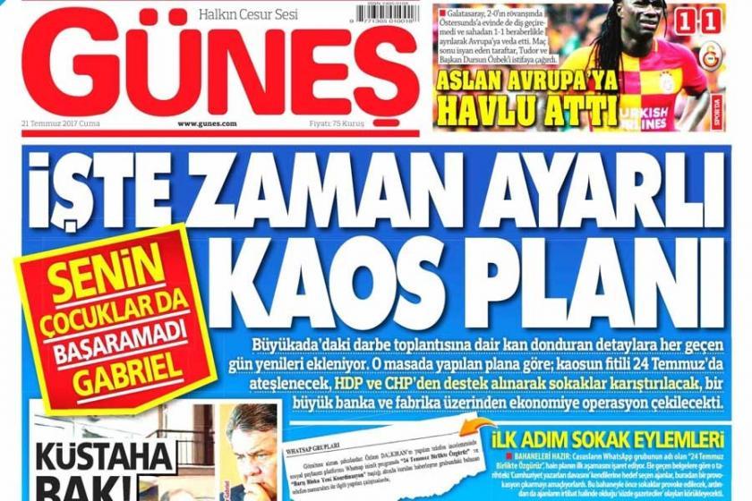 Güneş'in iftira 'haber'ine gazetemizden suç duyurusu