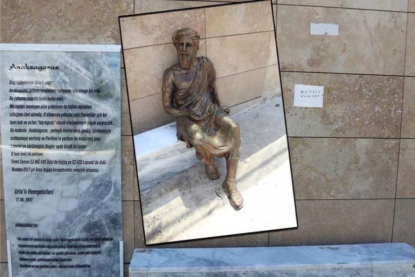 Saldırıya uğrayan Anaksagoras heykeli bakıma alındı