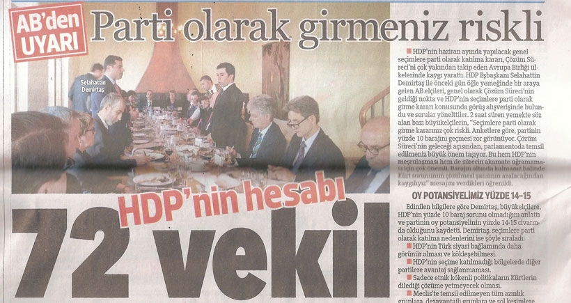 HDP'den Hürriyet'e tekzip