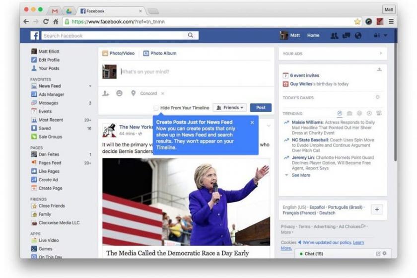 Facebook'ta habere yer yok