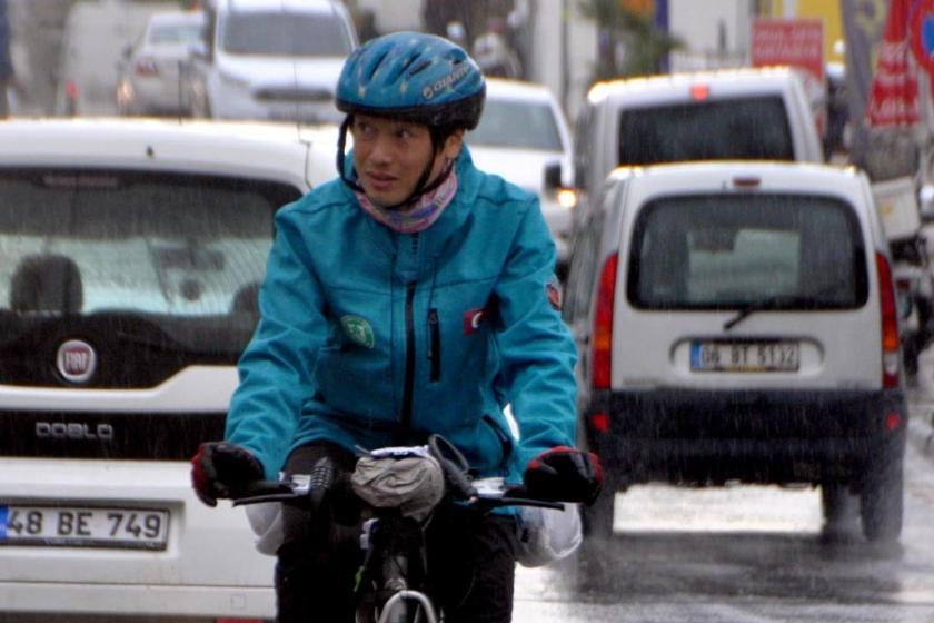 Bisikletle dünyayı gezen Japon tenis öğretmeni, Bodrum'da
