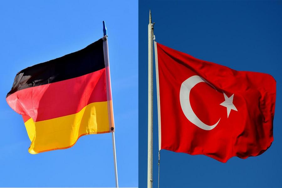 German and Turkish flags.