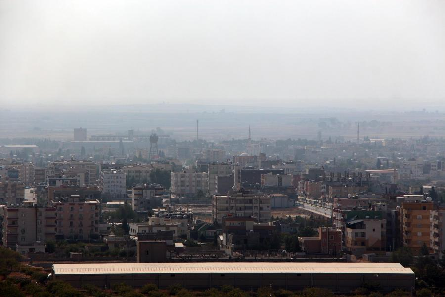A city scape from Ras al-Ayn, a city in northeastern Syria, on the border with Turkey.