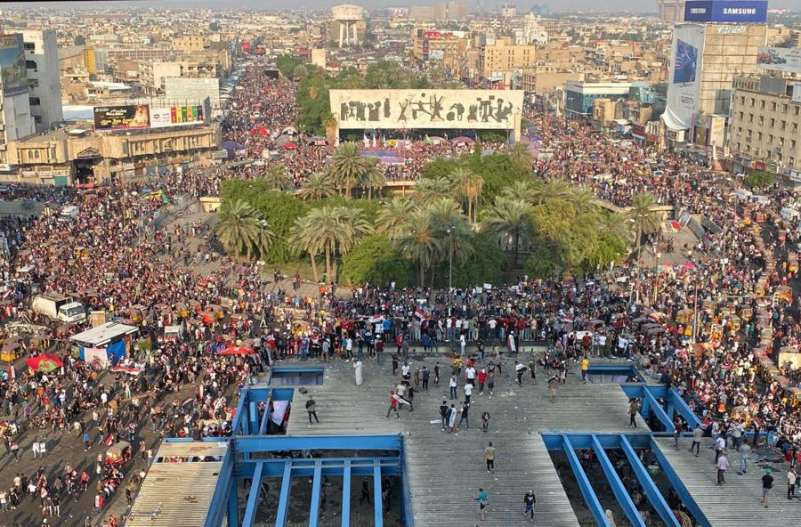 An image from the protests of the government in Iraq.