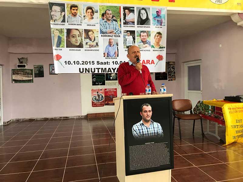 10 Ekim'de hayatını kaybeden EMEP GYK Üyesi Korkmaz Tedik'in babası Erdoğan Tedik (Fotoğraf: EVRENSEL)