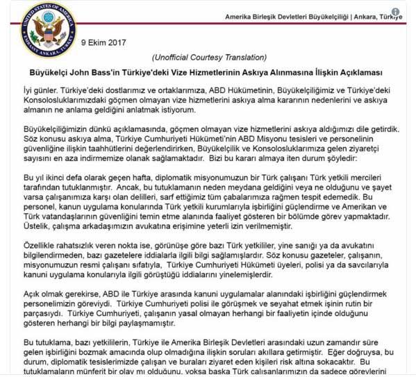 ABD Büyükelçisi John Bass'ın açıklaması