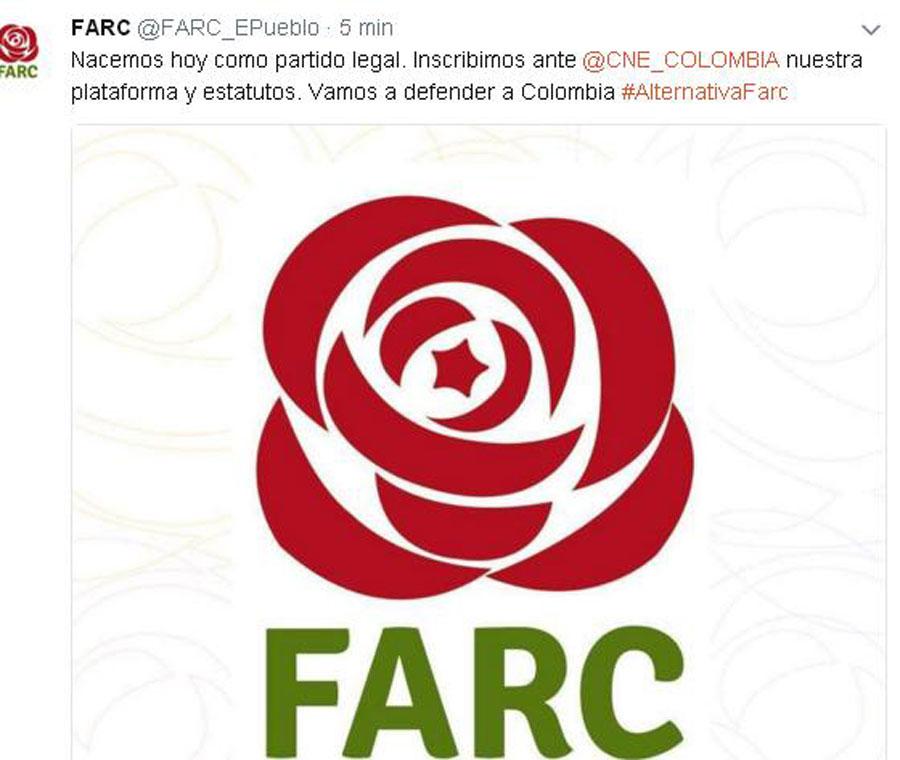 (FARC, yasal parti olarak başvuru haberini Twitter'dan duyurdu)