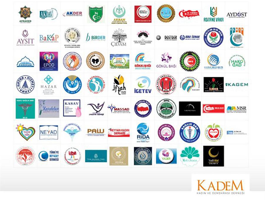 KADEM'in açıklamasında imzası bulunan sivil toplum kuruluşları