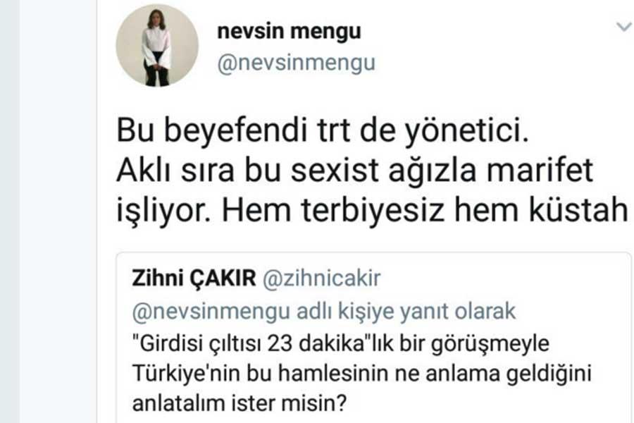 Nevşin Mengü'nün tweeti