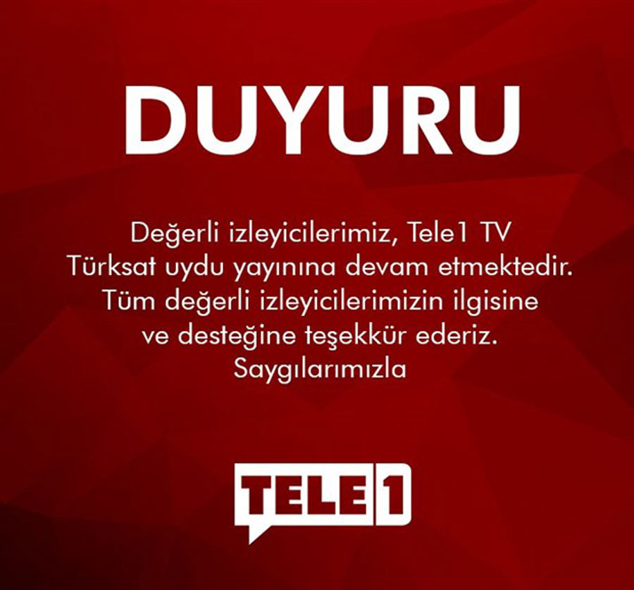 tele1 tv'den duyuru