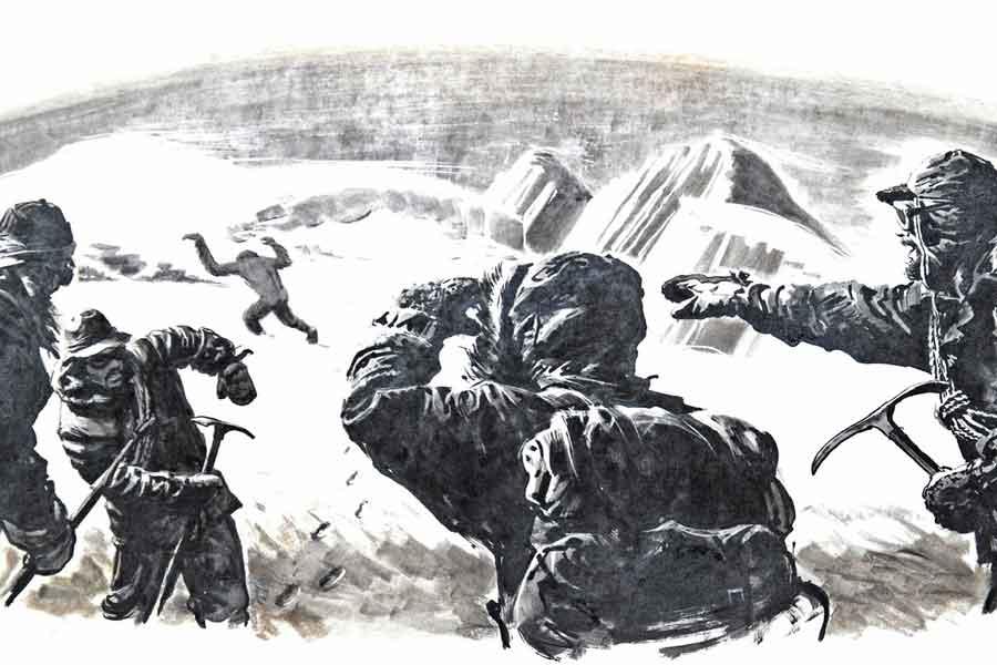 1950'lerdeki keşif gezilerindeki tanıklıklara dair yapılan bir ilüstrasyon