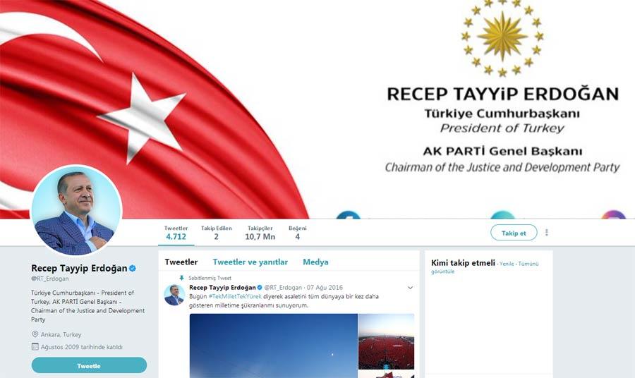 Erdoğan'ın Twitter hesabının yeni hali