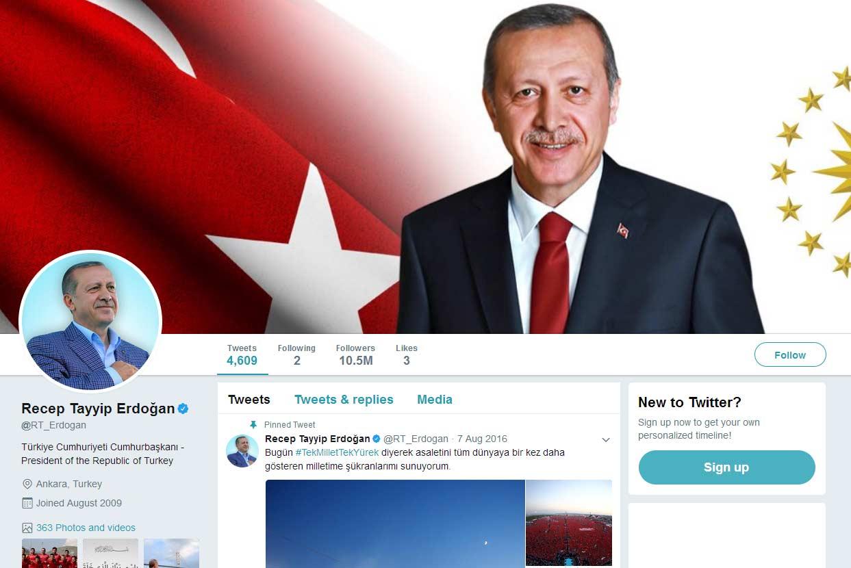 Erdoğan'ın 7 Temmuz'daki Twitter profili