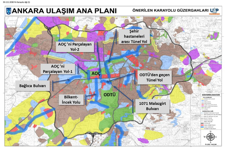 Çevre Düzeni Planı ve Ulaşım Ana Planı ile  AOÇ ve ODTÜ arazilerinden geçirilen yollar