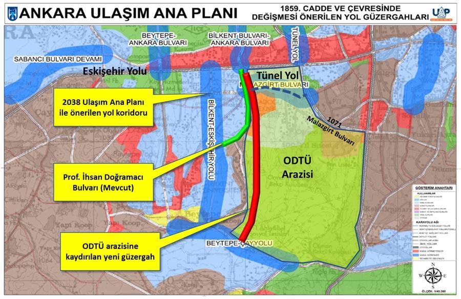 Bilkent-İncek Yolunun Plandaki Koridoru ve  ODTÜ Arazisine Kaydırılması
