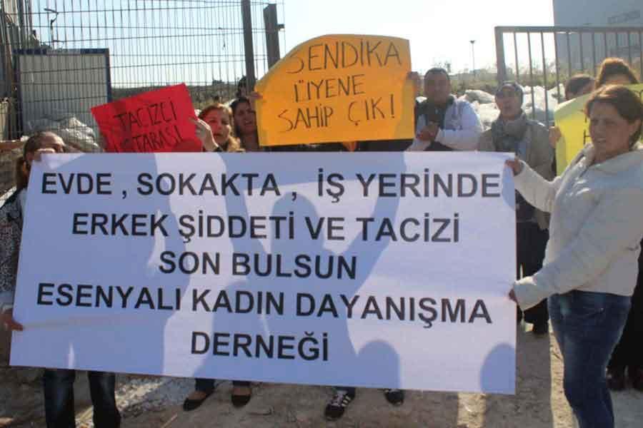 Esenyalı Kadın Dayanışma Derneği 2016 yılında Rimaks fabrikasında tacize ve şiddete uğraşan Nuray için fabrika önünde eylem yapmıştı.