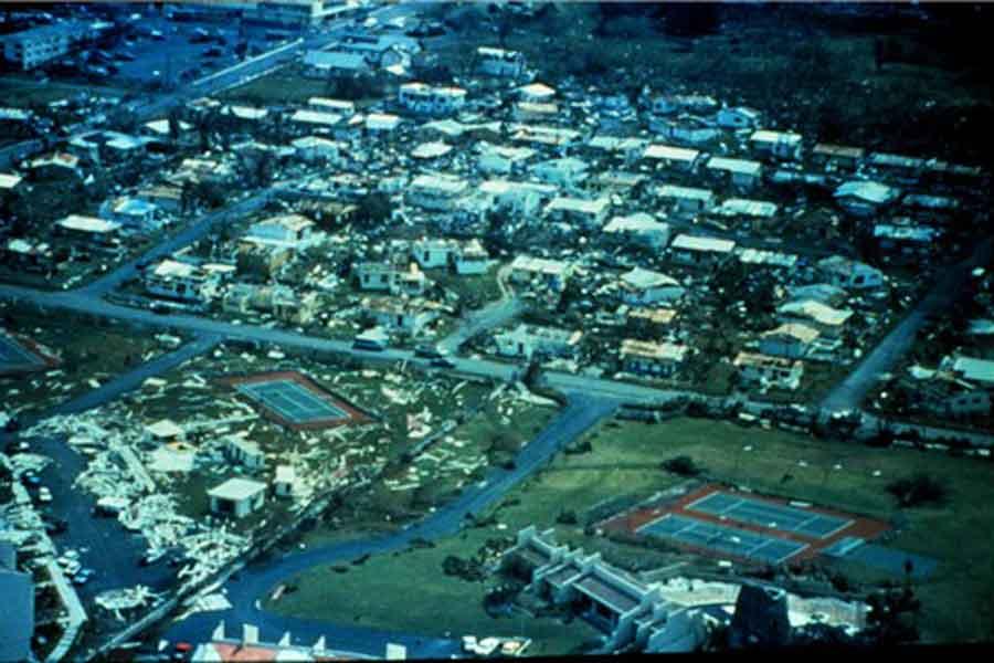 1989'daki Hugo Kasırgası sonrası St. Croix