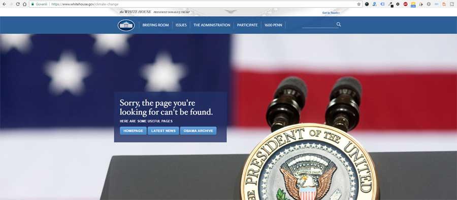 (Beyaz Saray'ın web sitesindeki İklimsel Değişim bölümü, Obama'nın arşivinde kaldı)