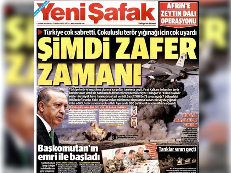 Yeni Şafak Afrin operasyonu manşeti