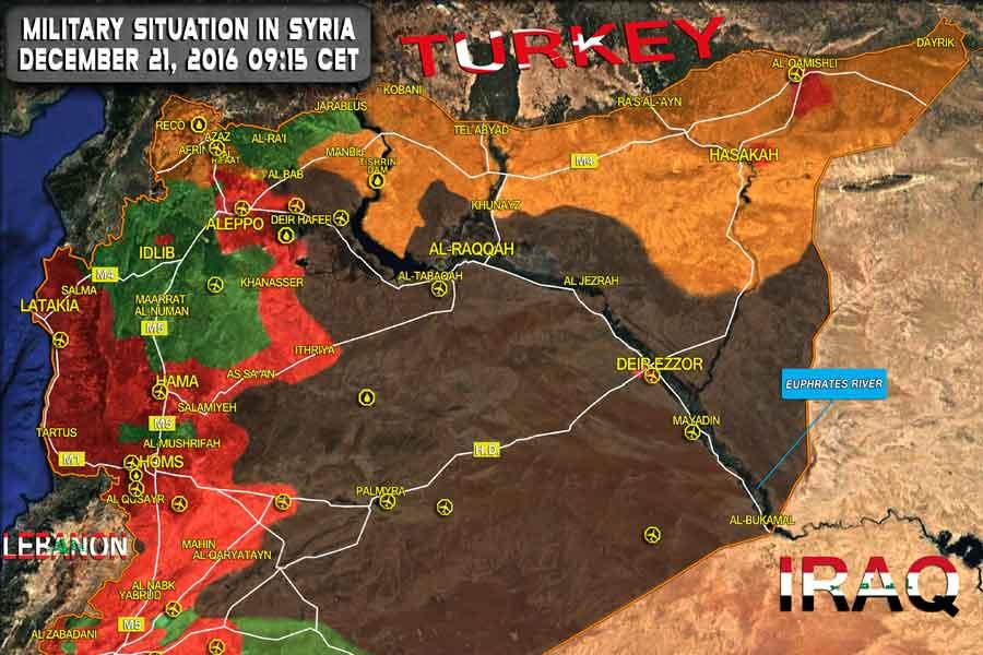 Halep savaşı sona erdiğinde bölgenin haritası. (21 2016 Aralık)