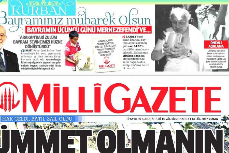 Milli Gazete, bayramın 2., 3. ve 4. günü çıkmayacağını duyurdu.
