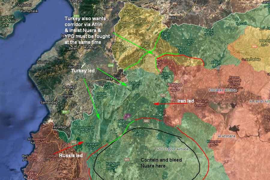 Türkiye, Rusya ve İran'ın olası İdlib senaryosu. (Harita: Twitter - Ali Özkök)