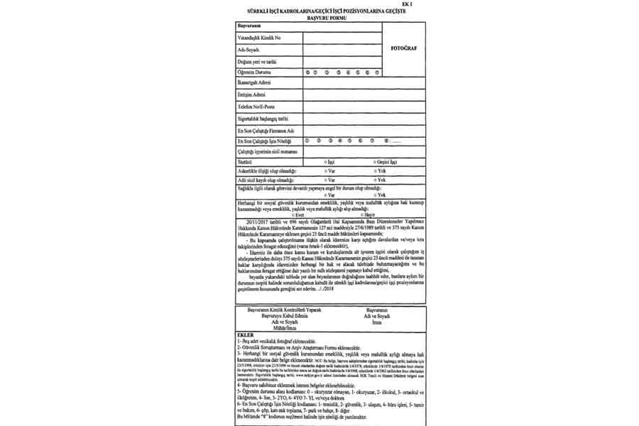 Merkezi yönetimlerde çalışan işçiler için başvuru formu (ek-1).