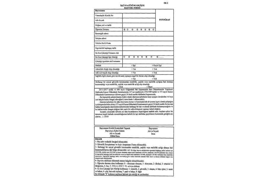 Yerel yönetimlerde çalışan işçiler için başvuru formu (ek-2).