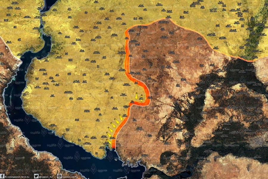 Qasioun Haber Ajansı'nın 21 Aralık 2016 itibariyle bölgedeki duruma dair hazırladığı harita